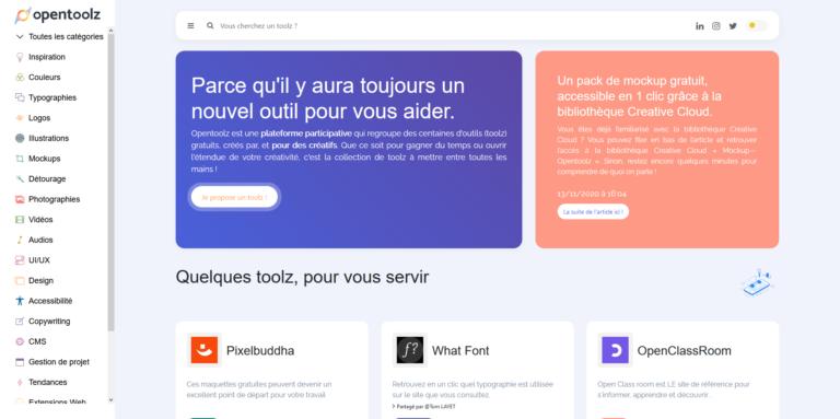 opentoolz-screenshot de la page d'accueil